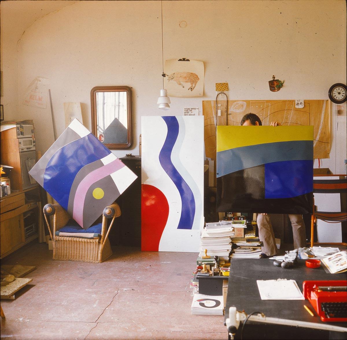 Atelier Lutz Rudolph, Emailelemente für das Fassadenrelief VEB Volkswerft Stralsund, 1973.