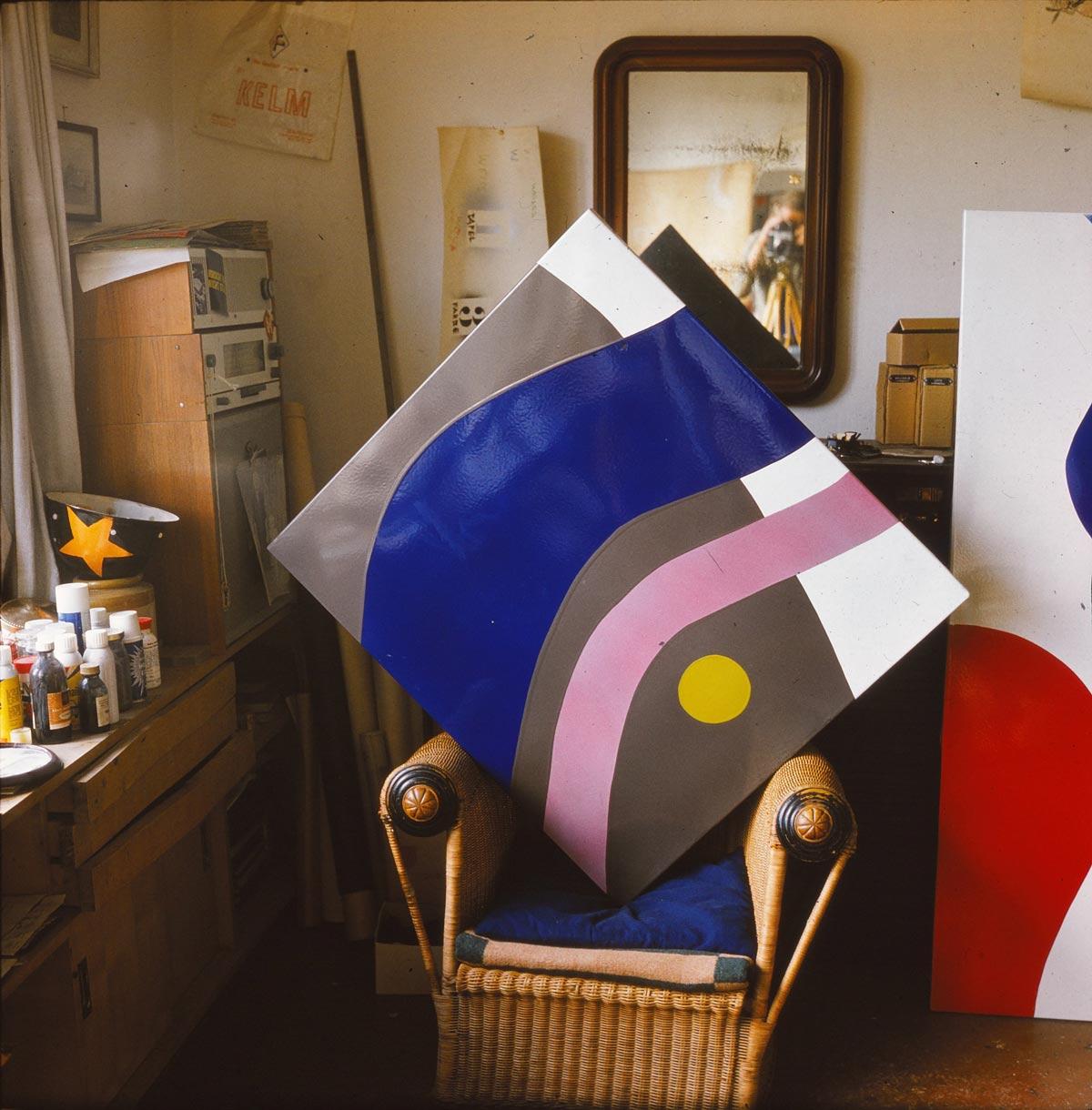 Atelier Lutz Rudolph, Emailelement für das Fassadenrelief VEB Volkswerft Stralsund, 1973.