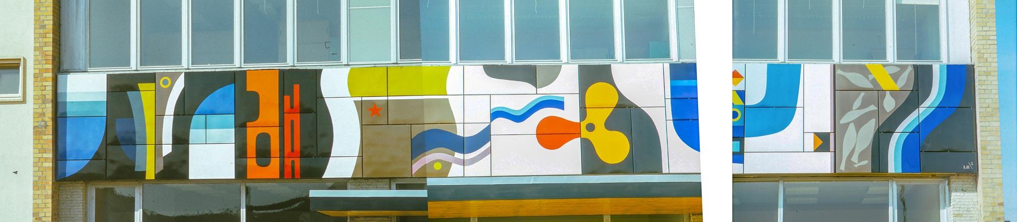 Lutz Rudolph, Fassadengestaltung Emailrelief VEB Volkswerft Stralsund, 1973.