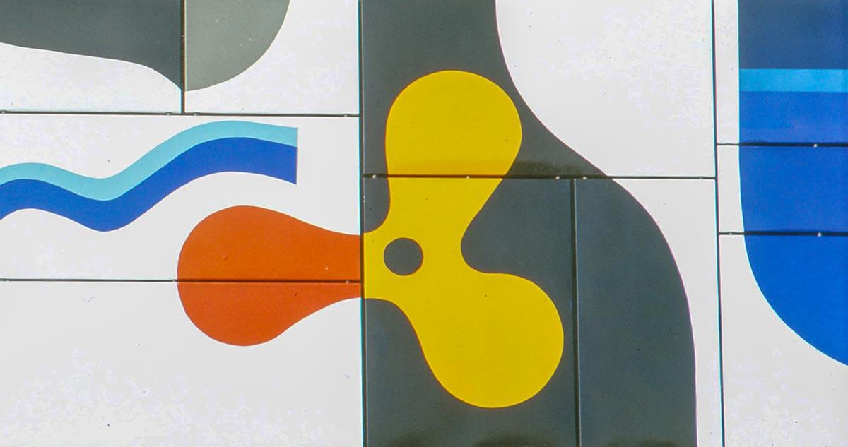 Lutz Rudolph, Fassadengestaltung Emailrelief VEB Volkswerft Stralsund, 1973. Detailansicht