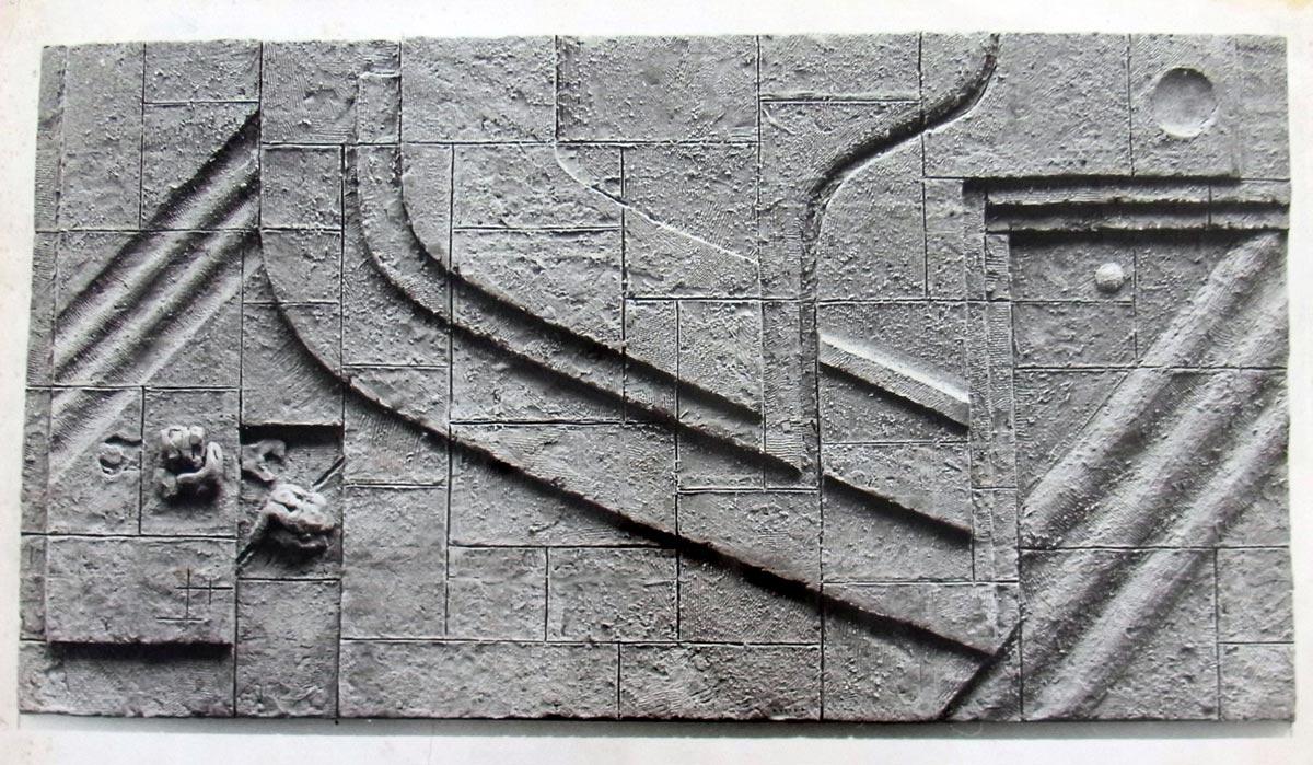 Lutz Rudolph, VW Stralsund, Relief, Plasteline, Entwurf für ein Travertinsteinrelief im Eingangsbereich auf dem VW Gelände.