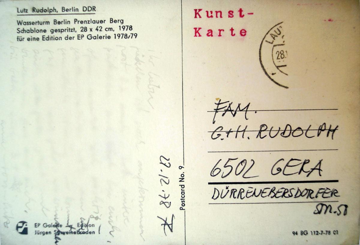 Lutz Rudolph, Signet Wasserturm Prenzlauer Berg, Berlin-Ost, für die EP Galerie Jürgen Schweinebraden, 1978. Rueckseite.